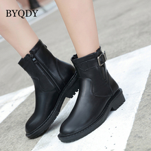 BYQDY Autumn Ankle Boots For Women Fashion PU Leather Female Thick Bottom Wedges Heels Zipper Winter Shoes Discount
