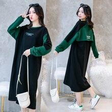 Spring Autumn Maternity Dresses Contrast Color Pregnancy Dress Korean Loose Pregnant Print Clothes for Women