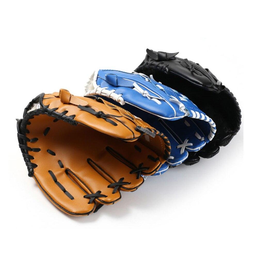 10.5/11.5/12.5 inch PVC Leather Baseball Gloves Outdoor Sports Left Hand Brown/Black/Blue Softball Gloves Trainning Equipment
