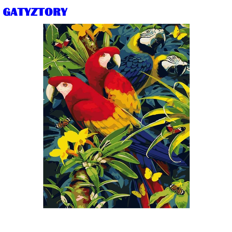 GATYZTORY Frame Picture Parrot DIY Painting By Numbers Animals Modern Home Wall Art Canvas Painting 50x65cm Home Decors Artwork