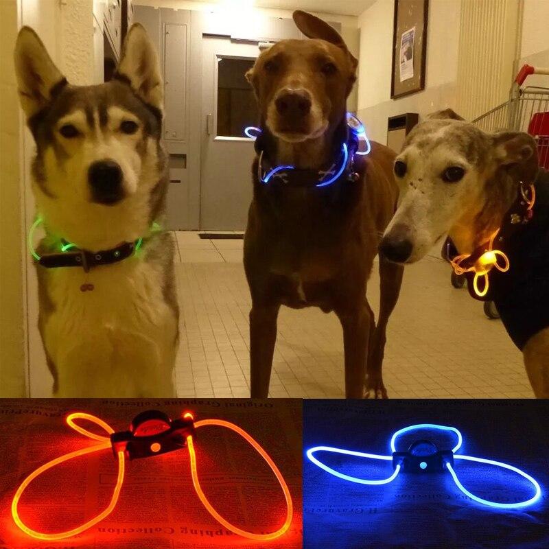 Pet Dog Collar Multi-color LED Pet Collar Adjustable Night Safety Pet Collar Luminous Light Up Pet Dog Bright Collar Leash