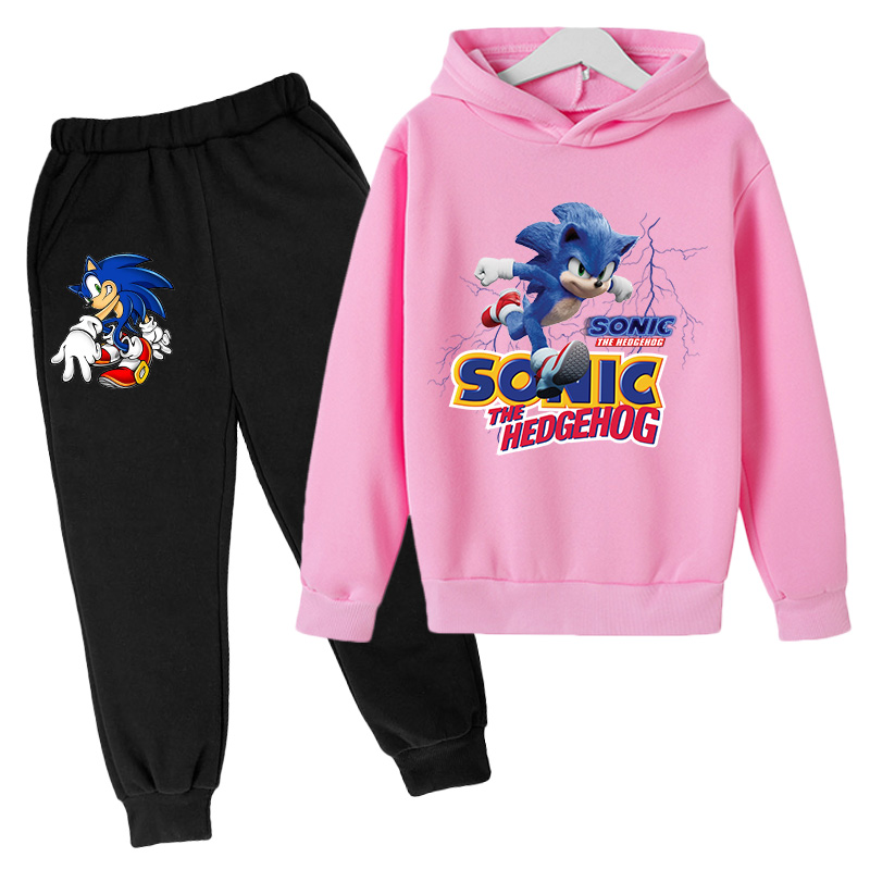 2021Big Boys anime Clothing Suit Anime Sonic the Hedg Tracksuit Kids Hoodie Pants 2pcs Sets Baby Girl Christmas Outfit 5