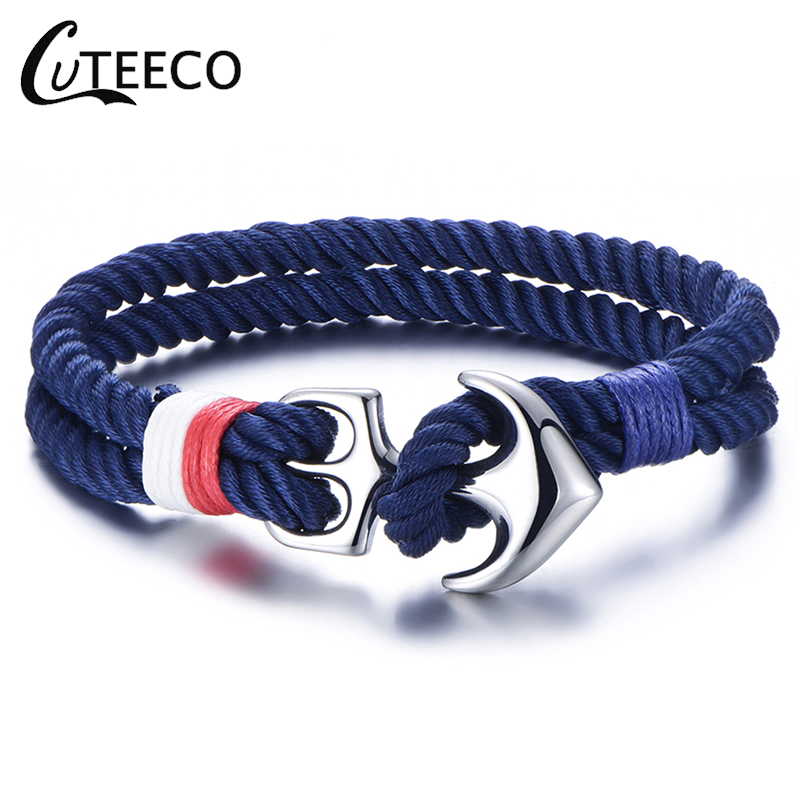 CUTEECO 2019 Hot Stainless Steel Anchor Bracelets Men Nautical Survival Rope Chain Paracord Bracelet Male Wrap Metal Sport Hooks in Charm Bracelets from Jewelry Accessories