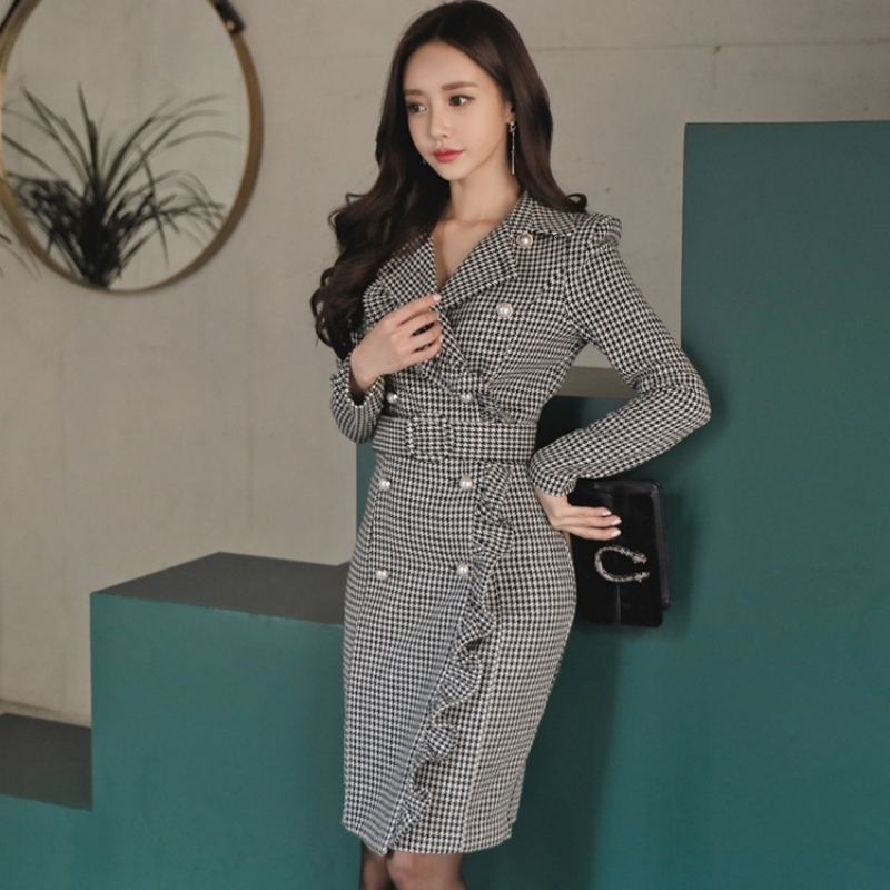 Sexy Ruffles Womens Long Sleeve Double Breasted Office Lady Dress Suits Female Woolen Korean Style Elegant Woman Suits Slim Fit