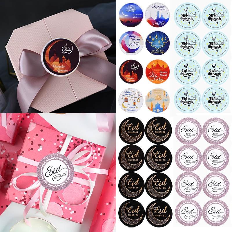 60Pcs/lot Eid Mubarak Black Stickers In Box Lable Paper Seal Gift Stickers Ramadan Mubarak Eid Decorations Islamic Gifts Muslim