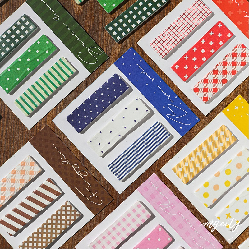 6pcs Basic Pattern Color Sticky Note Adhesive Post Label Memo Pad Planner Diary Book Marker It Tag Sticker Office School A6121