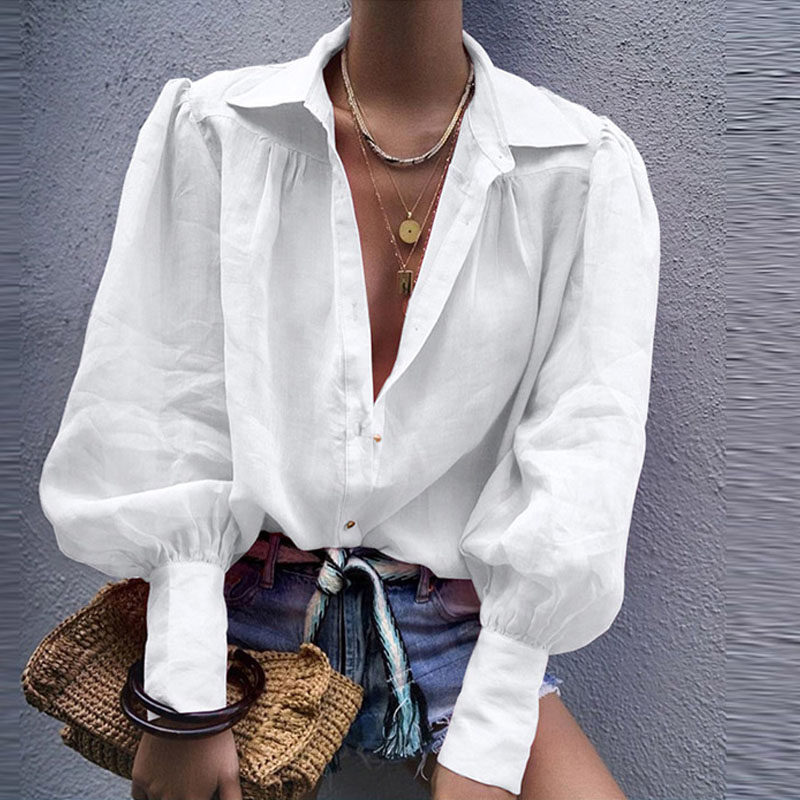White Lantern Long Sleeve Women's Shirts Solid Chic Single Breasted Female Tops 2020 Spring Buttons Casual Office Lady Shirt