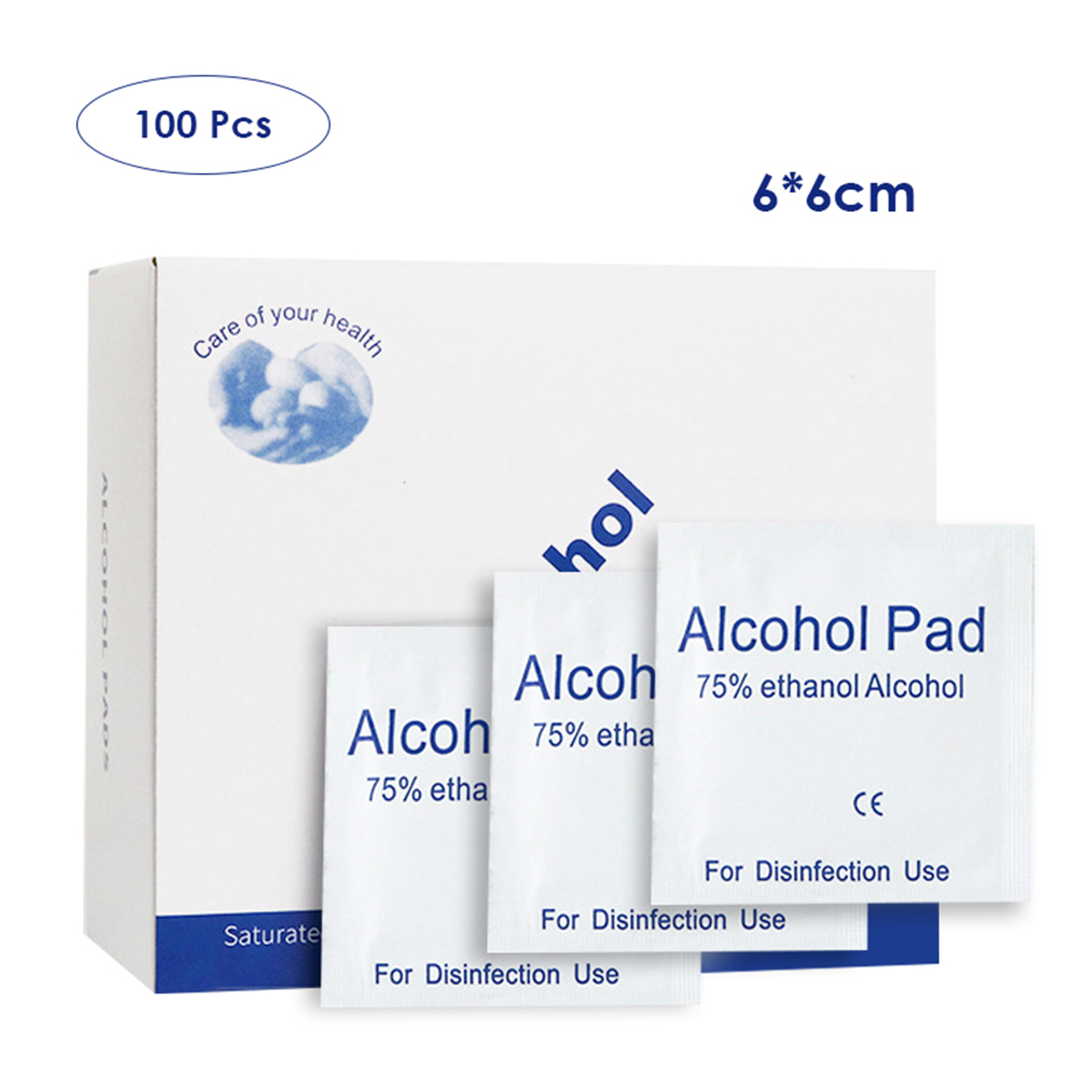 100pcs Alcohol Wipes 75% Isopropyl Alcohol Prep Pad For Mobile Phone Door Handle Sterilize Wound Mouse Door Handle