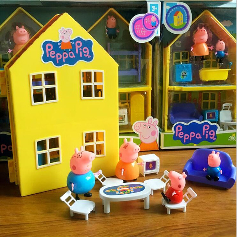 Peppa Pig Villa Deluxe House George Pig Family PVC Action Figure Toys Pretend Playset Birthday Christmas New Year Gift For Kids