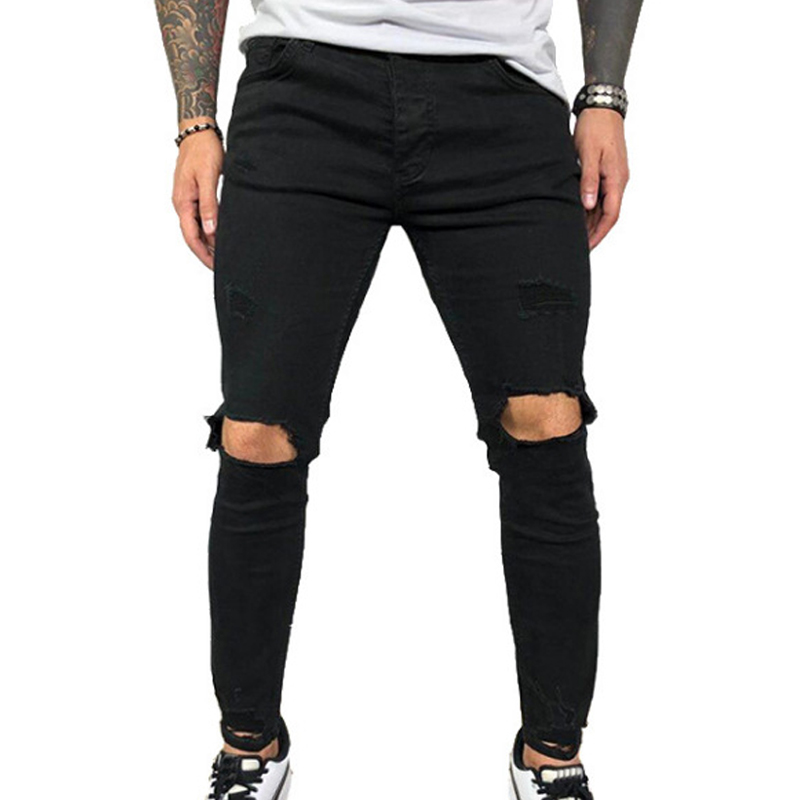 VICABO Mens Jeans Fashion Summer Sexy Hole Pencil Pants Jeans For Men Black Blue Men Clothing Ropa De Hombre 2020 Streetwear #w