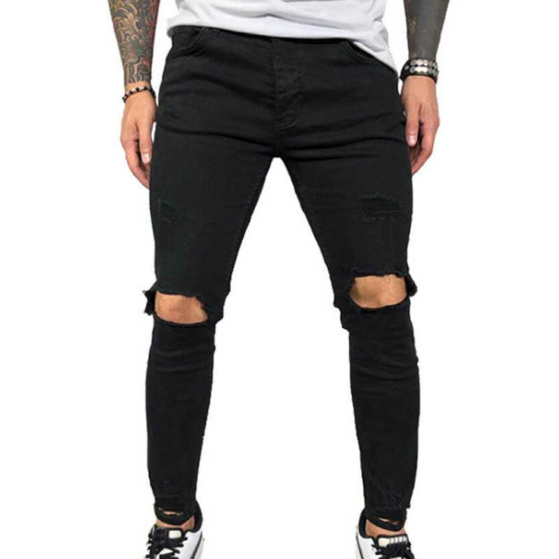 VICABO Mens 청바지 패션 여름 섹시한 홀 펜슬 바지 남성용 청바지 블랙 블루 남성 의류 ropa de hombre 2020 Streetwear # w