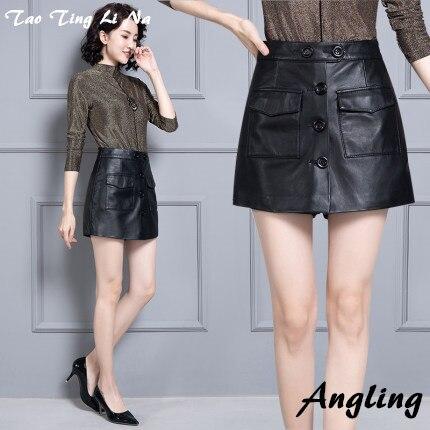2020 Women New Real Genuine Sheep Leather Shorts KS69