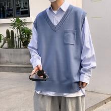 Autumn Winter V-neck Men's Vest Korean Casual Sweater Vest Men's Fashion Loose Vest Men's Streetwear Hedging Sleeveless Vest Men