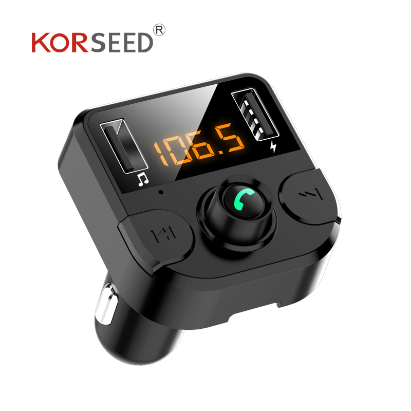 Image 4 - KORSEED Dual USB car charger with FM transmitter Bluetooth hands free FM modulator car phone charger for  iPhoneCar MP3 Players   -