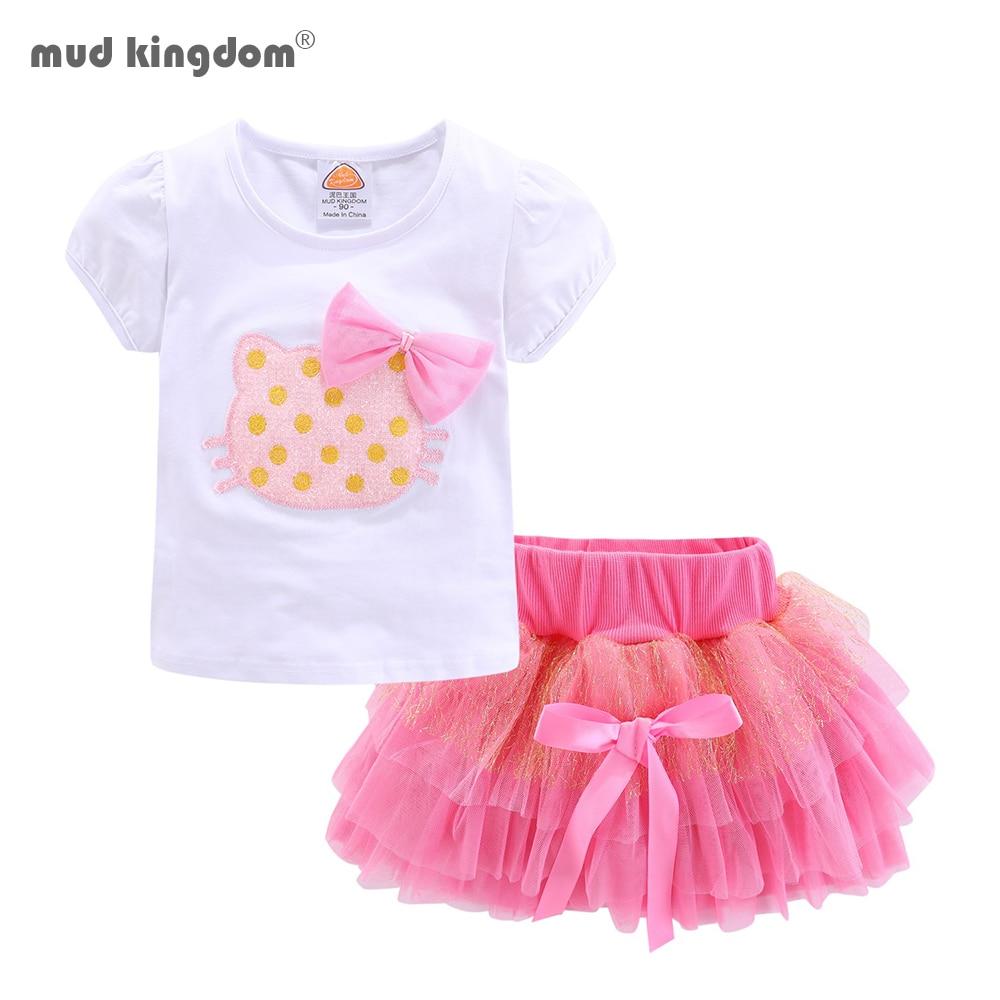 Mudkingdom Girls Outfits Cartoon Cat Short Sleeve Tops Princess Skirt Clothes Set Summer 3
