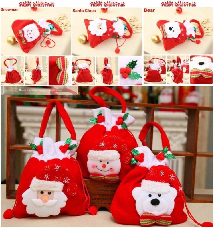 Рождественская сумка для хранения конфет, Санта Клаус, снеговик, медведь, вечерние подарочные сумки, Рождественская сумка с ручками