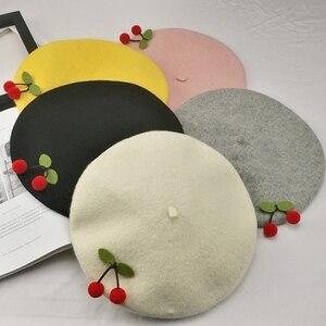 Spring Autumn Japanese Retro Mori Handmade Cherry Wool Beret Sweet Girl Beret Painter Hat(China)