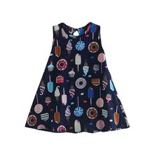 Girls Dress 2019 summer Sleeveless Clothes Ice Cream Cake Print Kids dress princess Party Dress for girls Clothes Casual 9.25