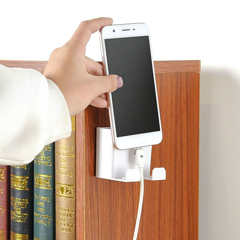 Phone Holder Wall Mounted Cellphone Stand Charging Holder Portable Bracket Shelf Hanging Storage Box