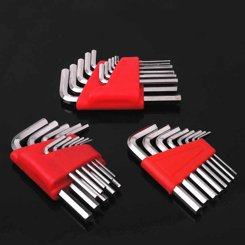 """1 ชุด HEX KEY ประแจเมตริกขนาด 1/16 """"- 1/4"""" นิ้ว 1.5 มม.-6 มม.แขนแขนสั้น Chromium-Vanadium STEEL Spanner มือชุดเครื่องมือ"""