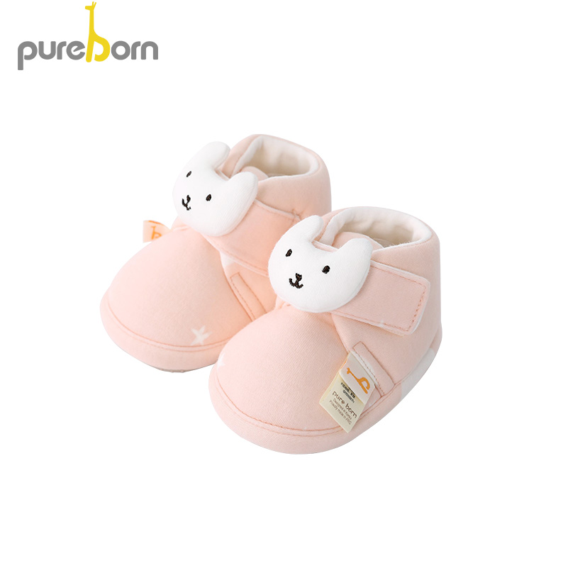 Pureborn Newborn Unisex Baby Shoes Cartoon Cat Baby Girl Booties Anti-Slip Slippers Winter Spring Autumn First Walkers