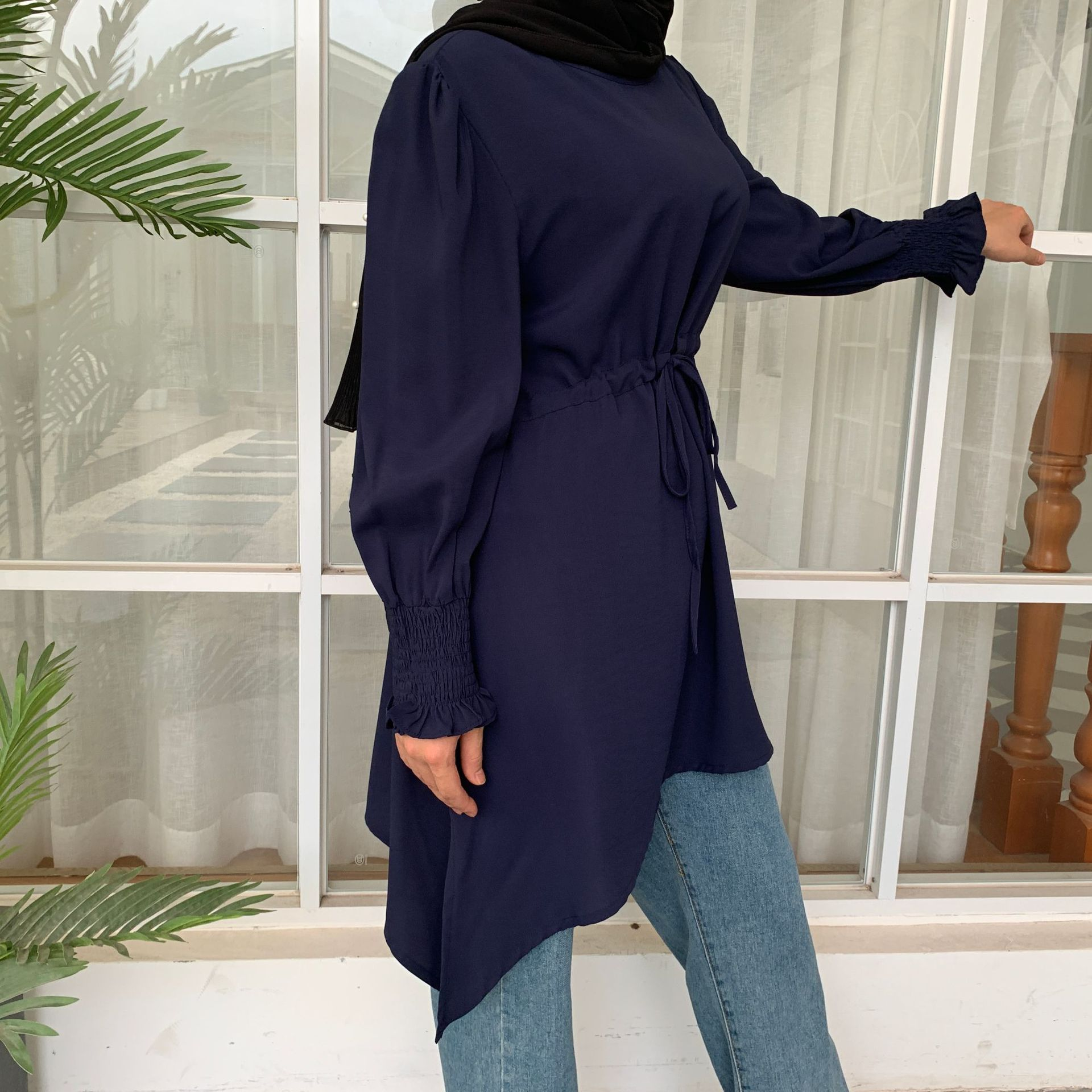 5XL Fashion irregular mulsim tops peignoir pure color plus size tops female elastic waist Worship Service islamic shirt F1668