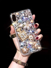 Bling Luxury Diamond Perfume Bottle Phone Case For iphone 11 12 pro MAX XS XR Pearl Flower Soft Shell For iphone 6 7 8 PLUS Capa