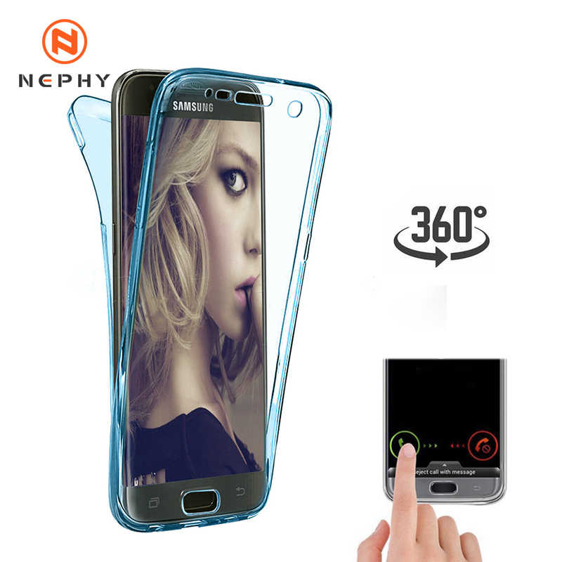Dupla Capa de Silicone Para Samsung Galaxy S8 S9 S10 Plus Nota 9 10 Pro A10 A20E A30 A40 A50 A60 A70 A3 A5 A7 2017 A6 A8 2018 Tampa