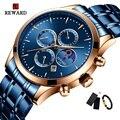 Роскошные золотые и синие часы для мужчин Moon Phase модные водонепроницаемые Стальные наручные часы для мужчин s кварцевые спортивные часы Relogio...