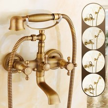 цена на Antique Brass Bathroom Faucet Wall Mounted Bathtub Shower Faucet With Hand Held Shower Head bath Shower Faucet Sets