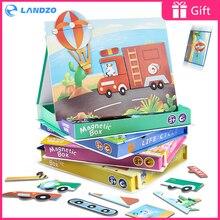 Landzo 3d quebra-cabeças de madeira montessori brinquedos diy puzzle educativo crianças criatividade rompecabezas placas de desenho magnético puzzle