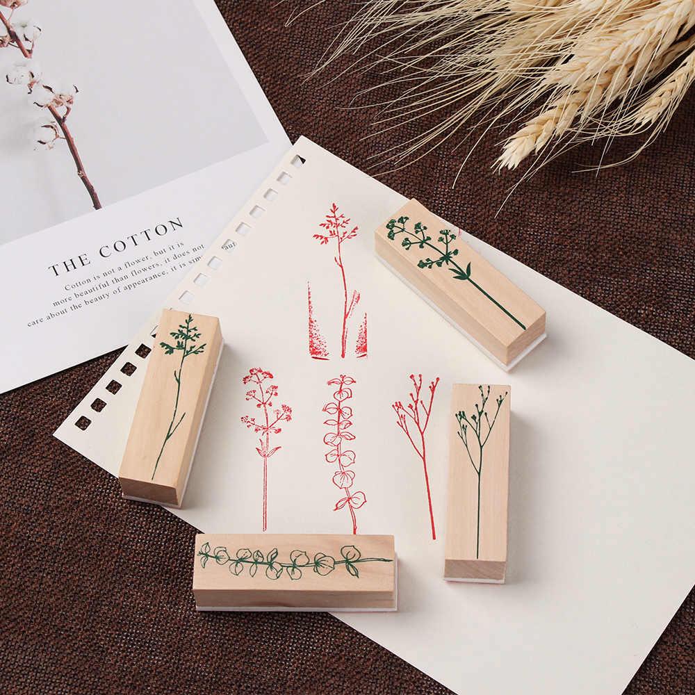 1 pc diy artesanato flor planta de madeira do vintage carimbo de borracha para scrapbooking papelaria pintura cartões decoração