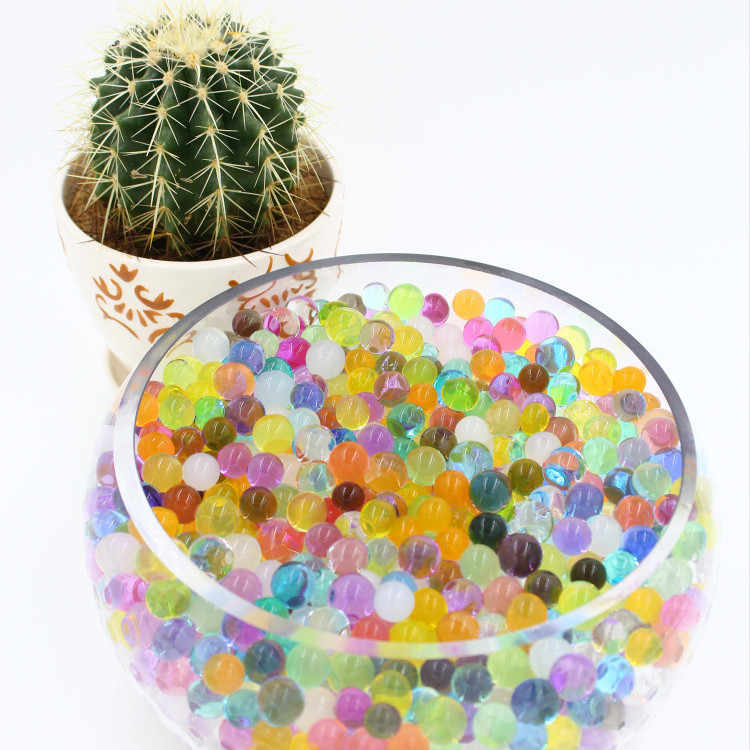 100pcs/ bag Crystal soil potted multicolor crystal beads gel ball polymer hydrogel crystal beads growth magic jelly wedding