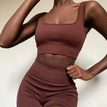 2021 Tank Tops Shorts 2 Piece Set for Fitness Summer Fashion Solid Tracksuit for Women Sexy Yoga Set Gym Clothing
