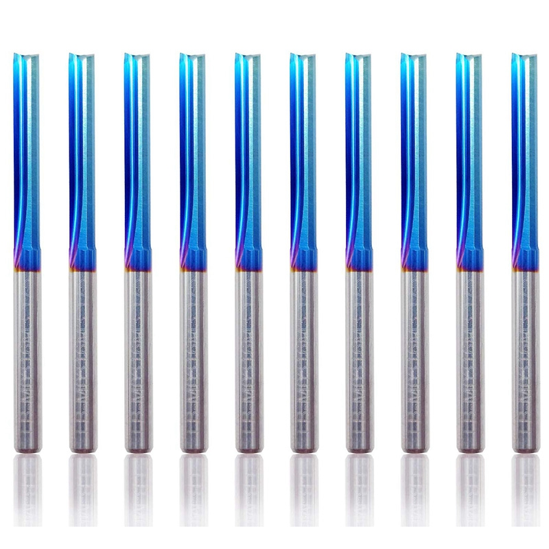 10Pcs 3.175 Shank Blue Coated Straight End Mill 2 Flute Carbide Milling Cutter For Wood MDF Plastic CNC Engraving Bit