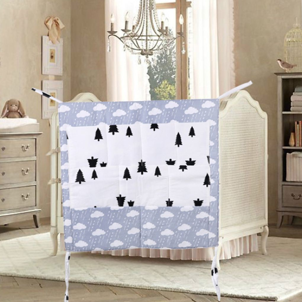 Baby Bed Organizer Nursery Hanging Bag Cotton Cartoon Crib Multi-function Infant Multi-pocket Holder