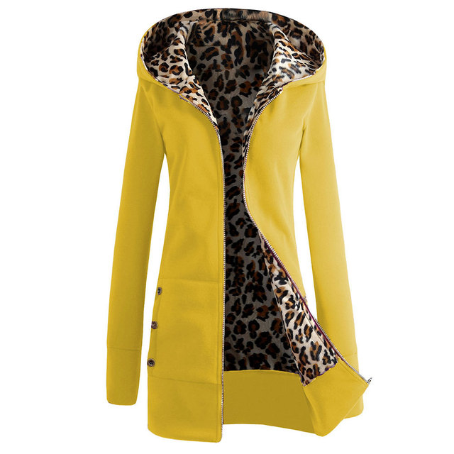 The latest fashion women's hooded thick leopard print sweater + jacket casual long-sleeved mid-length plus velvet winter hoodie 2