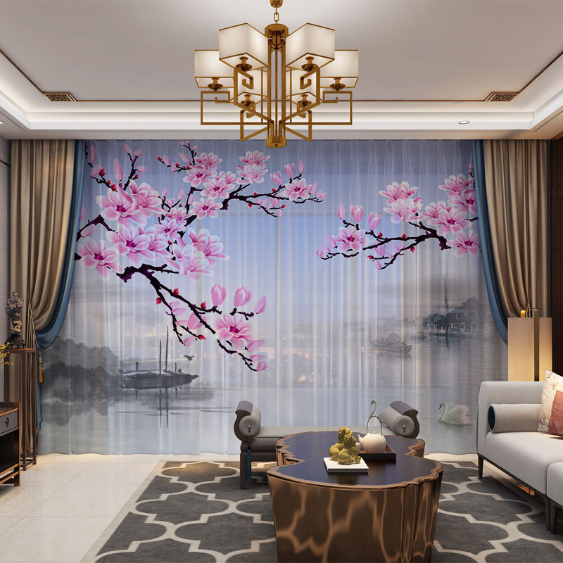 Landscape Chinese Style 3D Customized Photo Curtains Natural Drape Panel Sheer Tulle Curtains For Living Room Door Bedroom