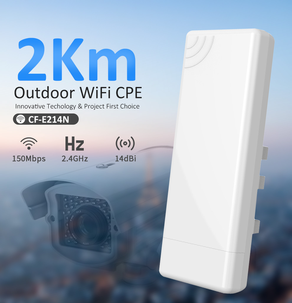 COMFAST 2.4G Wifi Bridge 3KM CPE48V POE WIFI Router 150Mbps Outdoor CPE Built In Watchdog Chip Extender Receiver CF-E214N