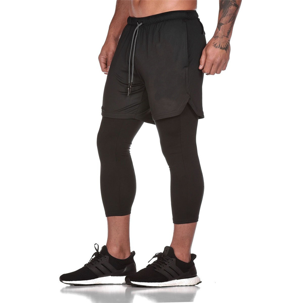 Leggings And Shorts 2 In 1 Double Layer Pants Mens Joggers Skinny Sweatpants Male Gyms Fitness Sporty Trackpants New Sportswear