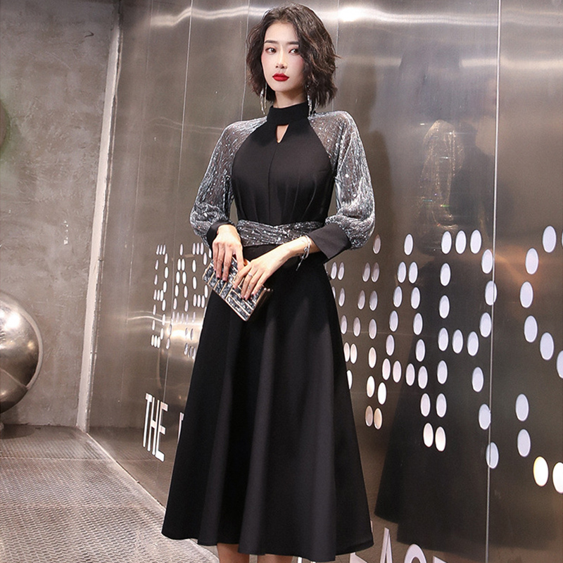 High Collar Evening Dress K323 Black Sequined Women Formal Dresses A-Line Knee-Length Women Party Gowns Cut-out Elegant Vestido