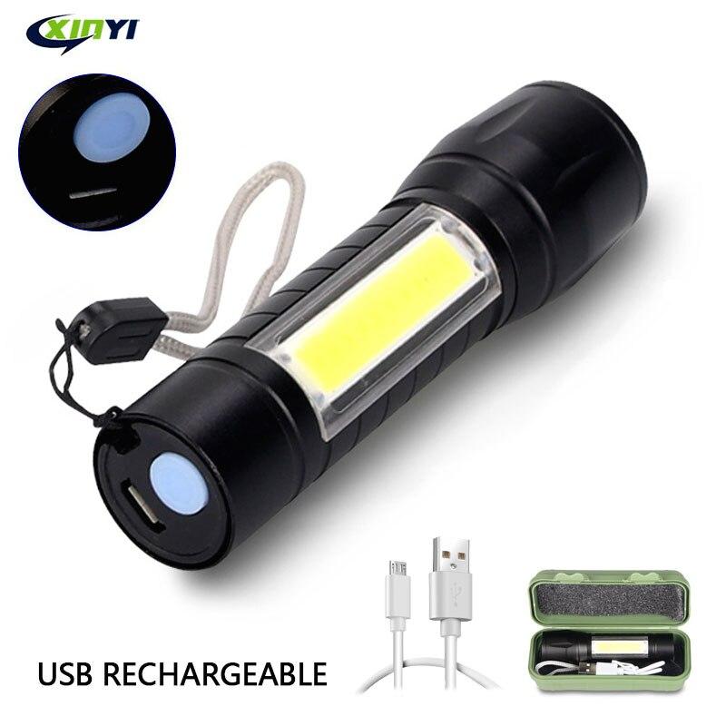 Портативный USB Перезаряжаемый светодиодный фонасветильник со встроенной литиевой батареей 3800 лм XML-Q5 + COB фонарь для кемпинга масштабируемы...