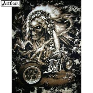 Алмазная картина для рукоделия, Череп, мотоцикл, 5d Бриллиантовая мозаика пейзаж, алмазная вышивка, украшения, ремесла