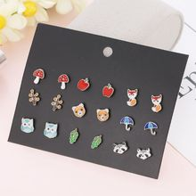 30 Pair Stainless Steel Mixed Bee Frog Tree Daisy Umbrella Stud Earrings Set Kit C90D