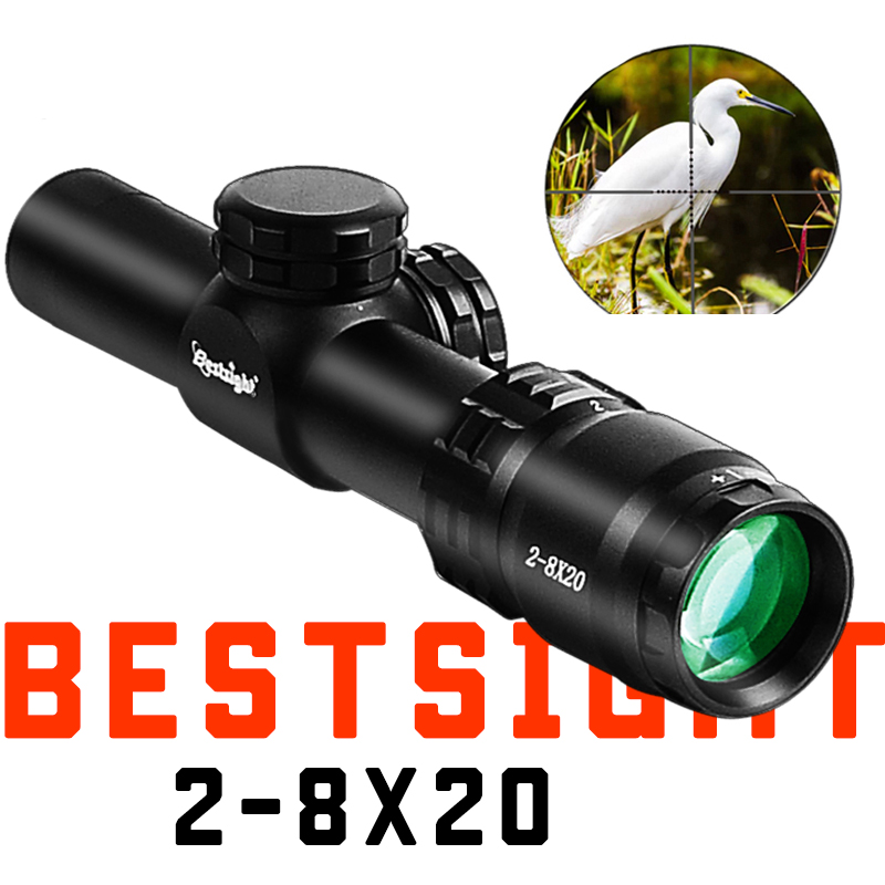 NOVA 2-8X20 Optics Compact Riflescope Caça Scope Retículo Mil Dot Vista Caça Tiro Armas de Ar Comprimido