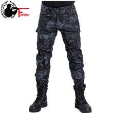 Homem calças estilo militar tático camuflagem caça pant para o homem do exército urbano ripstop trem python macacão calças de carga masculina moda