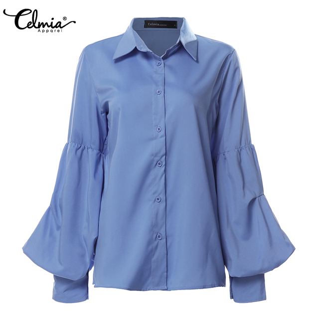 Top Fashion 2019 Celmia Women Long Puff Sleeve Blouses Shirts Lapel Buttons Casual Loose Solid Party Work Blusas Mujer Plus Size 5