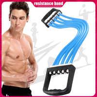 Регулируемый Натяжитель для груди с 5 трубами, портативный Натяжитель для занятий спортом в помещении, эластичное оборудование для занятий ...