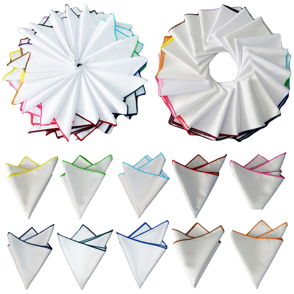 Men's Suit Pocket Square Stylish Colorful Rolled Handkerchief White Hanky YXTIE0325