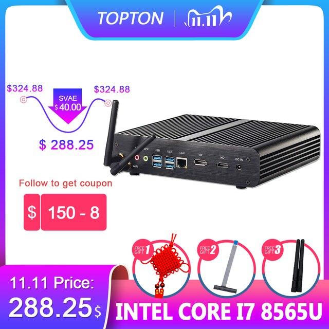 Topton Nuc Fanless Gaming Pc Intel Core I7 8565U 8550U Whiskey Lake 4 Core 8 Threads 2 * DDR4 M.2 pcie Computer Dp Hdmi Htpc Wifi